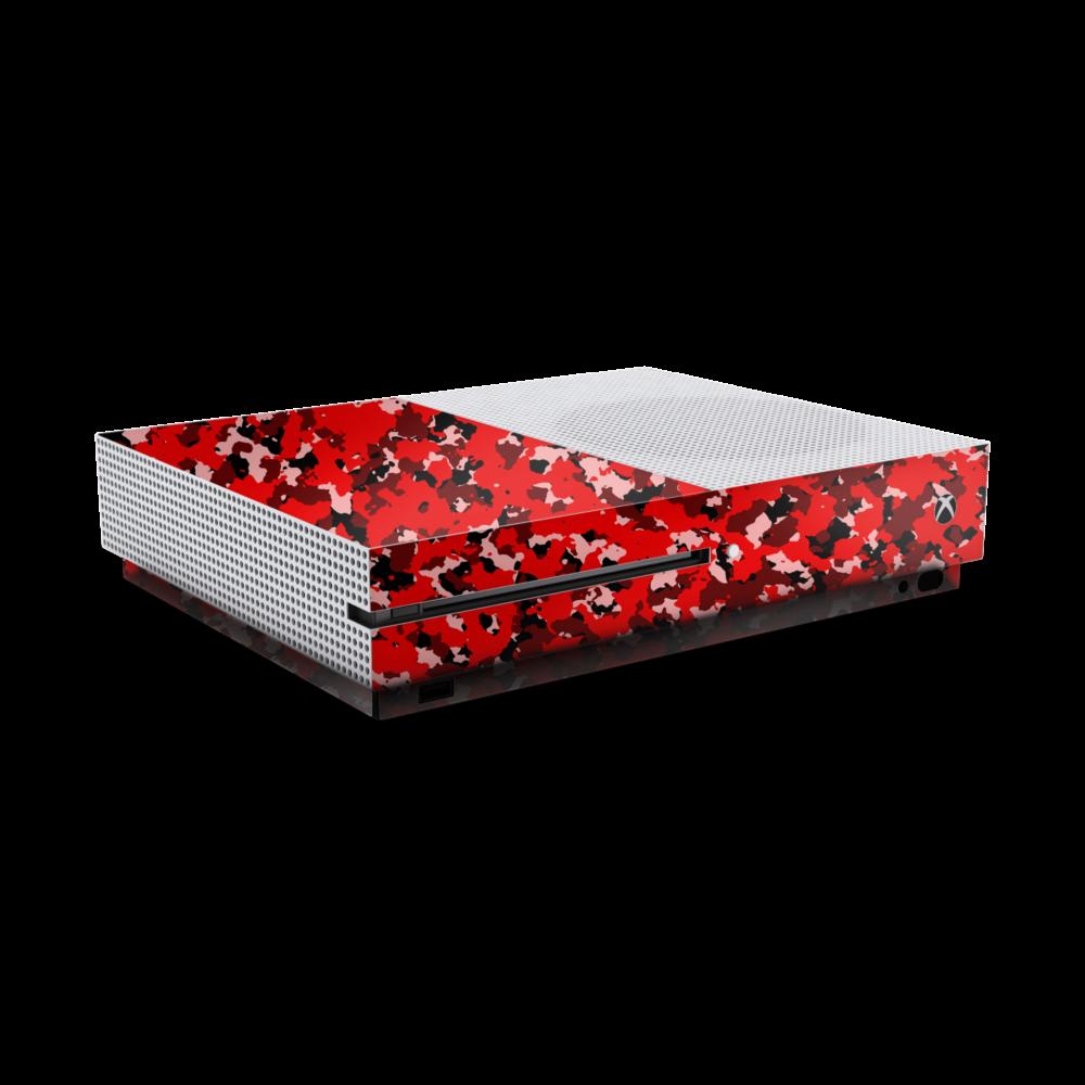 Xbox One S army camouflage sticker rood skin zijaanzicht Ucustom